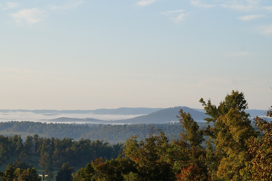 Early morning fog over the Ozark hills
