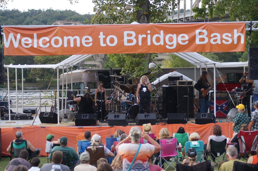 Welcome to Bridge Bash 2016 sign over stage